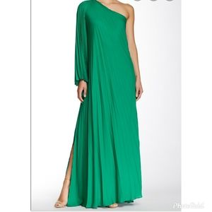 Halston Heritage One Shoulder Pleated Evening Gown
